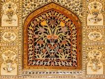 Fenêtre de marbre florale colorée chez Amer Palace Images libres de droits