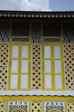 Fenêtre de Masjid Ihsaniah Iskandariah chez Kuala Kangsar photographie stock libre de droits