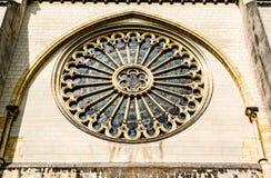 Fenêtre de Rose du côté de St Maurice Cathedral Angers, Fran Photo stock