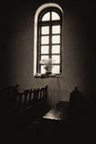 Fenêtre de sanctuaire d'Espada de mission avec des fleurs Photos libres de droits