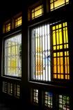 Fenêtre de Sultan Ibrahim Jamek Mosque chez Muar, Johor Photos stock