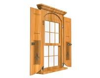 Fenêtre en bois avec des portes image libre de droits