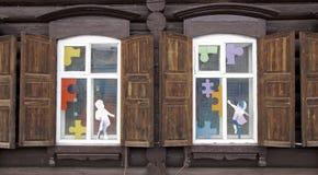 Fenêtre en bois de vintage photos stock