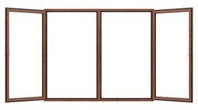 Fenêtre en bois ouverte d'isolement sur le blanc image stock