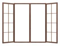 Fenêtre en bois ouverte d'isolement sur le blanc photo stock