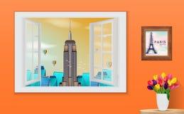 Fenêtre en bois ouverte et vue sur l'Empire State Building illustration stock