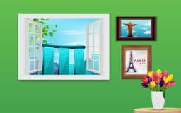 Fenêtre en bois ouverte et vue sur Marina Bay Sands Photos stock