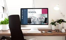 Fenêtre en ligne d'école d'ordinateur Image libre de droits