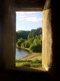 Fenêtre en pierre de château Photos libres de droits
