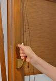 Fenêtre en plastique ouverte de bras Photo stock