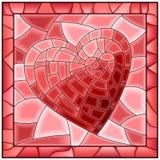 Fenêtre en verre teinté de coeur avec la trame. Images libres de droits