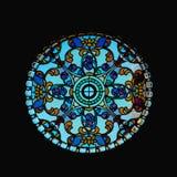 Fenêtre en verre teinté de forme de cercle Photo libre de droits