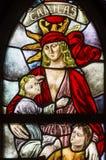 Fenêtre en verre teinté De Krijtberg Church Amsterdam Pays-Bas d'amour Photographie stock