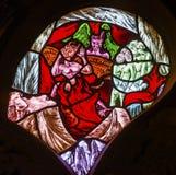 Fenêtre en verre teinté De Krijtberg Church Amsterdam Pays-Bas d'enfer Image libre de droits