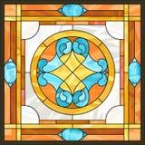 Fenêtre en verre teinté de panneaux de plafond, dans le cadre carré illustration stock