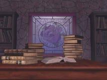Fenêtre en verre teinté et vieux livres illustration libre de droits