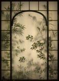 Fenêtre en verre teinté florale images stock