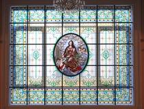 Fenêtre en verre teinté, grand hall du conservatoire de Moscou Photo libre de droits