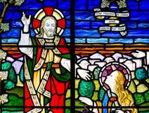 Fenêtre en verre teinté Jésus Photographie stock libre de droits