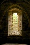 Fenêtre et voûte arquées dans l'abbaye de bataille Photographie stock libre de droits
