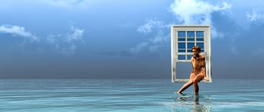 Fenêtre flottant au-dessus de la mer photographie stock