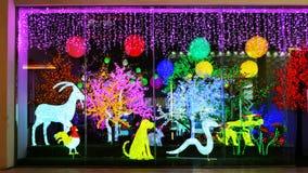 Fenêtre menée de boutique d'éclairage la nuit Images stock