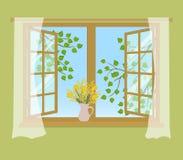 Fenêtre ouverte avec des rideaux sur un fond vert illustration libre de droits