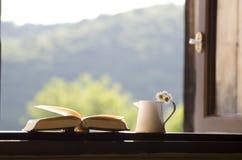 Fenêtre ouverte - photo brouillée - fond de nature ou d'éducation Photographie stock libre de droits
