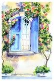 Fenêtre pendant le matin en Provence illustration libre de droits