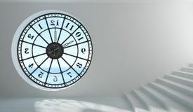 Fenêtre ronde d'horloge dans la chambre Image stock