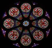 Fenêtre rose en verre souillé Photo libre de droits