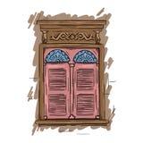 Fenêtre rose tirée par la main Volets artistiques d'architecture de vintage Photo stock