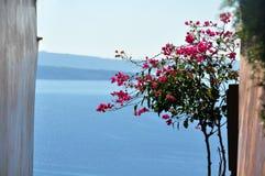 Fenêtre sur la mer Égée dans les sud des îles de Cycladic dans Santorini La Grèce image libre de droits