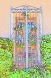 Fenêtre typique de l'Espagne du sud décorée des pots de fleur colorés pour l'usage comme fond Textures de milieux de circuits éco images libres de droits