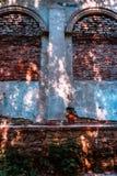 Fenêtres arrondies sur le vieux mur de briques Photo libre de droits