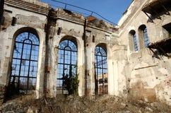 Fenêtres cassées ruinées de vieille usine abandonnée, Odessa, Ukraine Photographie stock libre de droits