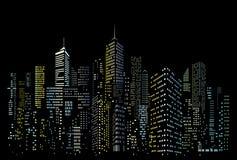 Fenêtres de couleur de ville de nuit illustration libre de droits