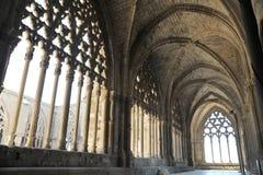 Fenêtres de galerie de La Seu Vella The Old Cathedral de ville de Lérida Lerida en Catalogne, Espagne, détail architectural images libres de droits