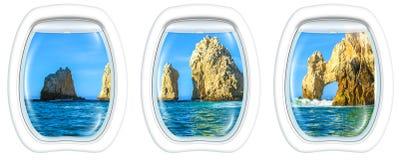 Fenêtres de hublot sur Cabo San Lucas images libres de droits