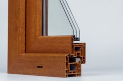 Fenêtres de profil de PVC avec le glaçage triple photos libres de droits