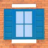 Fenêtres de vintage sur le mur de briques Photo stock