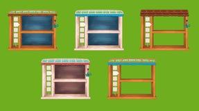 Fenêtres en bois d'étagère de jeu réglées Photo libre de droits