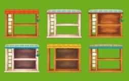 Fenêtres en bois d'étagère de jeu réglées Image libre de droits