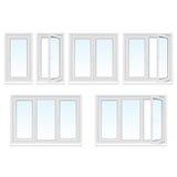 Fenêtres en plastique réglées illustration libre de droits