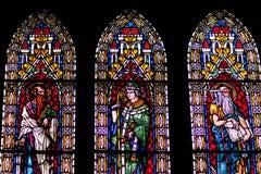 Fenêtres en verre teinté de Fribourg Minster Image libre de droits