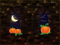 Fenêtres médiévales avec le potiron, Halloween heureux Photographie stock
