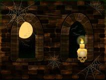 Fenêtres médiévales dans le château magique avec le crâne et la bougie Carte heureuse de Halloween, vecteur Photographie stock