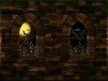 Fenêtres médiévales dans le château magique Carte heureuse de Halloween, vecteur Images stock