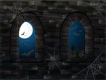 Fenêtres médiévales dans le château magique Fond heureux de Halloween, vecteur Photo libre de droits