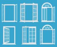 Fenêtres réalistes en plastique en bois blanches réglées avec l'illustration en verre transperant de vecteur illustration de vecteur